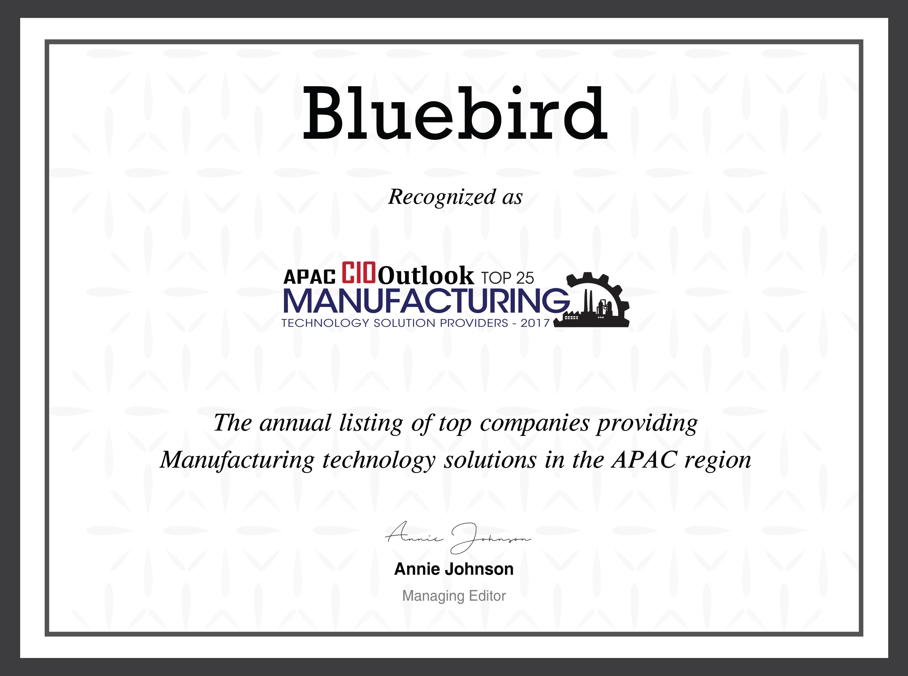 Bluebird recognized as top25 manufacturing technology solution ...